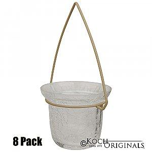 Crackled Glass Votive w/ Hanger (8 PACK) Hanger Color: Gold Leaf Glass Color: CLEAR