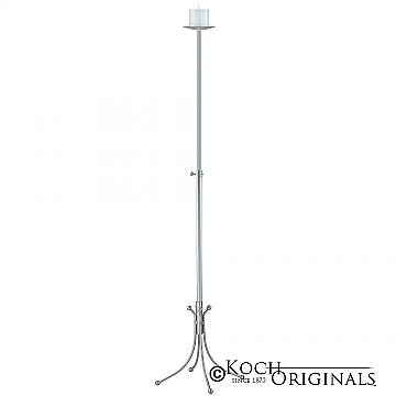1-Light Freestanding Aisle Candelabra - Pillar Style - Frosted Silver