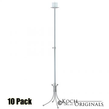 1-Light Freestanding Aisle Candelabra - Pillar Style - 10 Pack - Frosted Silver