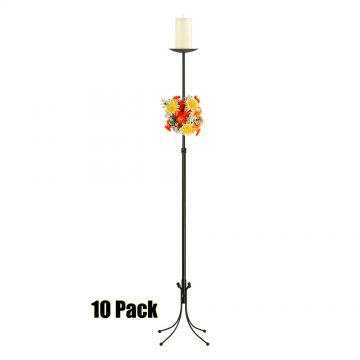 1-Light Freestanding Aisle Candelabra - Pillar Style - 10 Pack - Onyx Bronze