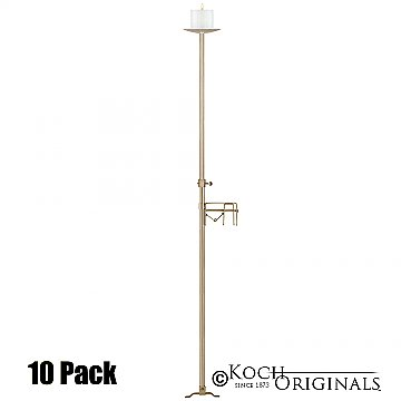 1-Light Aisle Candelabra w/ Quick Clamp - Pillar Style - 10 Pack - Gold Leaf