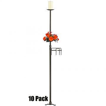 1-Light Aisle Candelabra w/ Quick Clamp - Pillar Style - 10 Pack - Onyx Bronze