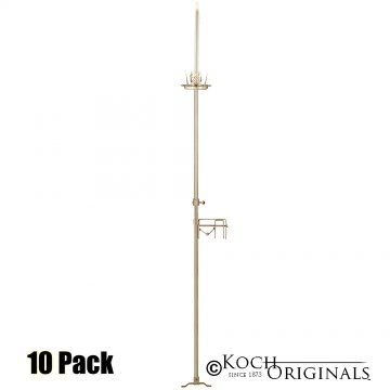 1-Light Aisle Candelabra w/ Quick Clamp - 10 Pack - Gold Leaf