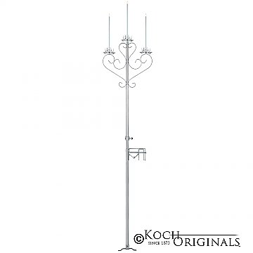 3-Light Aisle Candelabra w/ Quick Clamp - Frosted Silver