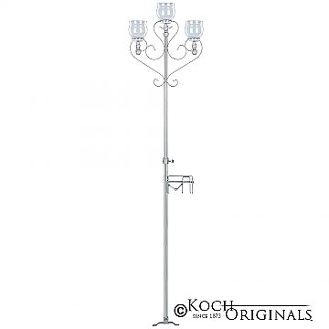 3-Light Aisle Candelabra w/ Quick Clamp - Teardrop Style - Frosted Silver