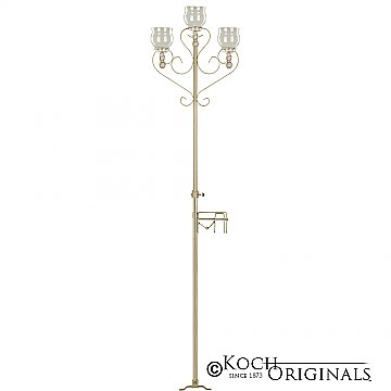 3-Light Aisle Candelabra w/ Quick Clamp - Teardrop Style - Gold Leaf