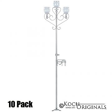 3-Light Aisle Candelabra w/ Quick Clamp - Teardrop Style - 10 Pack - Frosted Silver