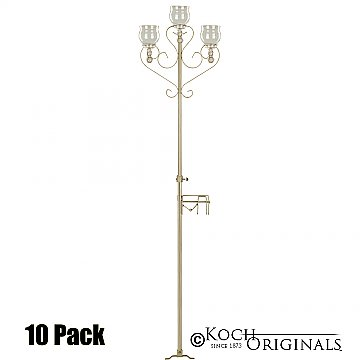 3-Light Aisle Candelabra w/ Quick Clamp - Teardrop Style - 10 Pack - Gold Leaf