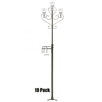 3-Light Aisle Candelabra w/ Quick Clamp - Teardrop Style - 10 Pack - Onyx Bronze