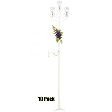 3-Light Aisle Candelabra w/ Quick Clamp - Teardrop Style - 10 Pack - White