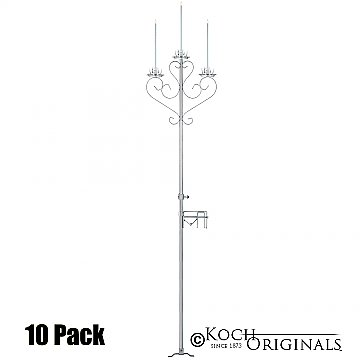 3-Light Aisle Candelabra w/ Quick Clamp - 10 Pack - Frosted Silver