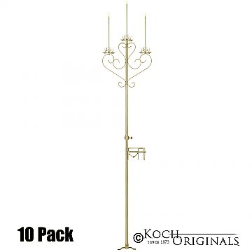 3-Light Aisle Candelabra w/ Quick Clamp - 10 Pack - Gold Leaf