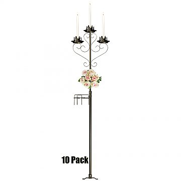 3-Light Aisle Candelabra w/ Quick Clamp - 10 Pack - Onyx Bronze