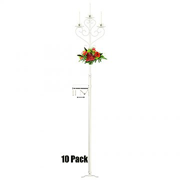 3-Light Aisle Candelabra w/ Quick Clamp - 10 Pack - White