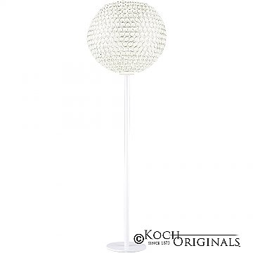 Tabletop Crystal Ball Candelabra - 36'' Tall - 12'' Ball - White w/ Clear Crystals