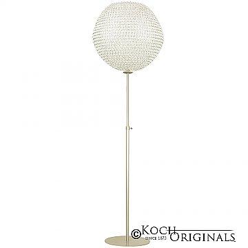 Crystal Ball Floor Candelabra - Adjustable Height - 18'' Ball - Gold Leaf w/ Clear Crystals