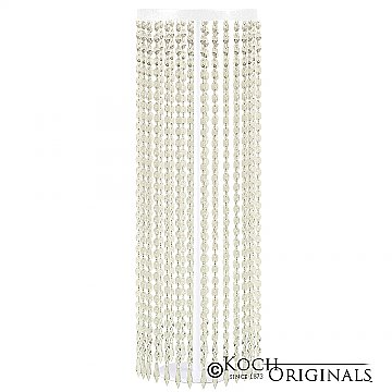 Tabletop Crystal Column - 25'' Tall - White w/ Clear Crystals