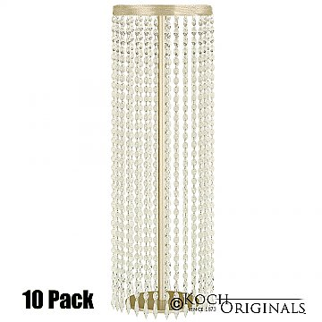 Tabletop Crystal Column - 25'' Tall - 10 Pack - Gold Leaf w/ Clear Crystals