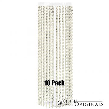 Tabletop Crystal Column - 25'' Tall - 10 Pack - White w/ Clear Crystals