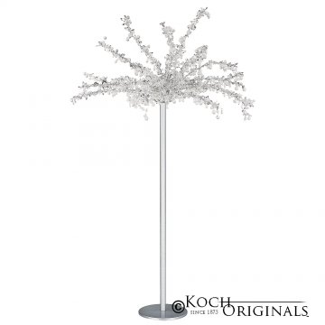 Tabletop Crystal Tree - 32'' Tall - Frosted Silver w/ Clear Crystals