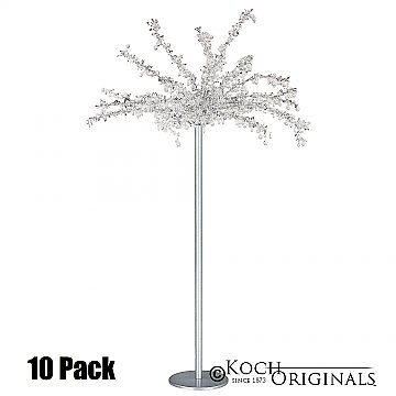 Tabletop Crystal Tree - 32'' Tall - 10 Pack - Frosted Silver w/ Clear Crystals