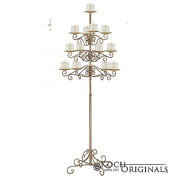 13-Light Tree Floor Candelabra - Pillar Style - Gold Leaf