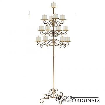13-Light Tree Floor Candelabra - Pillar Style - Gold Leaf