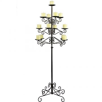 13-Light Tree Floor Candelabra - Pillar Style - Onyx Bronze