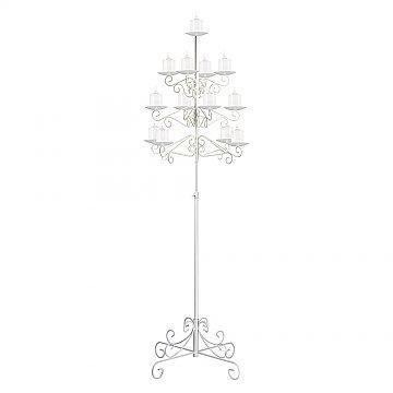 13-Light Tree Floor Candelabra - Pillar Style - White