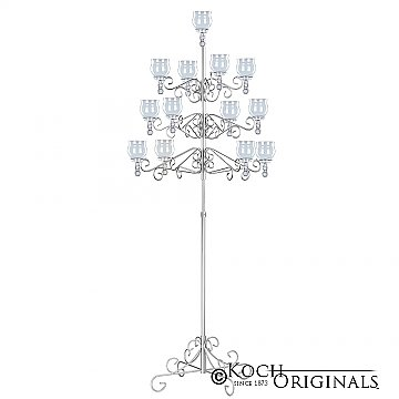 13-Light Tree Floor Candelabra - Teardrop Style - Frosted Silver