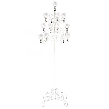 13-Light Tree Floor Candelabra - Teardrop Style - White