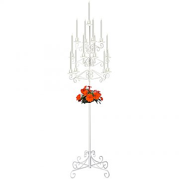 13-Light Tree Floor Candelabra - White