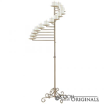 14-Light Spiral Candelabra - Pillar Style - Gold Leaf