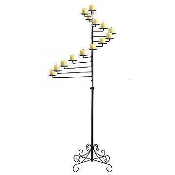 14-Light Spiral Candelabra - Pillar Style - Onyx Bronze