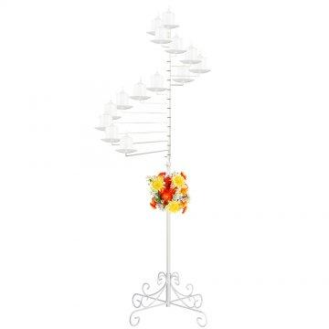 14-Light Spiral Candelabra - Pillar Style - White