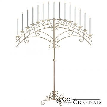 15-Light Fan Floor Candelabra - Gold Leaf