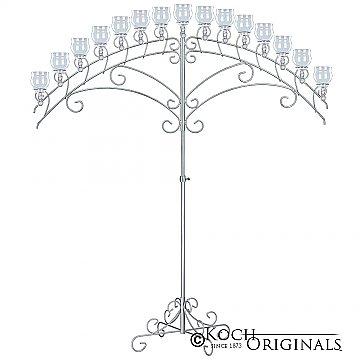 15-Light Fan Floor Candelabra - Teardrop Style - Frosted Silver