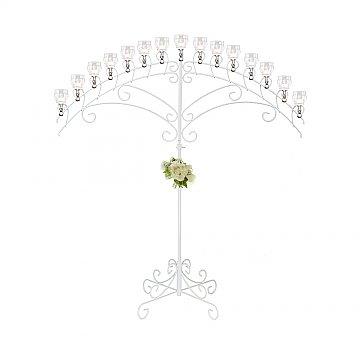 15-Light Fan Floor Candelabra - Teardrop Style - White