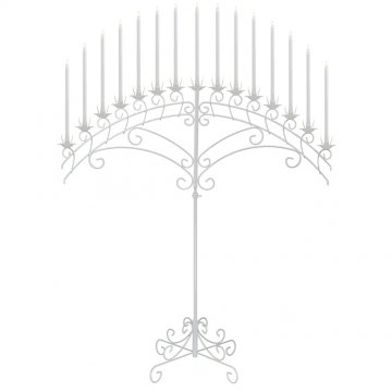 15-Light Fan Floor Candelabra - White