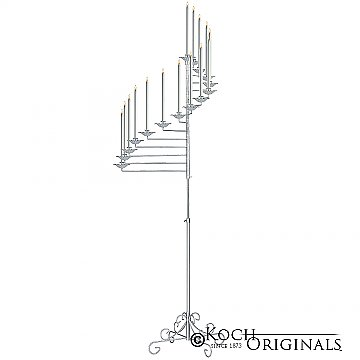 15-Light Spiral Candelabra - Frosted Silver