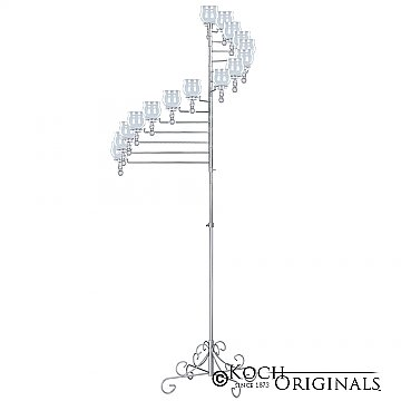 15-Light Spiral Candelabra - Teardrop Style - Frosted Silver