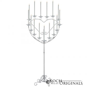 'Quinceanera'' 15 or 16 Light Heart Candelabra - Frosted Silver