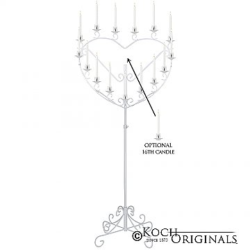'Quinceanera'' 15 or 16 Light Heart Candelabra - White