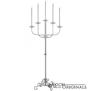 5-Light Fan Floor Candelabra - Frosted Silver