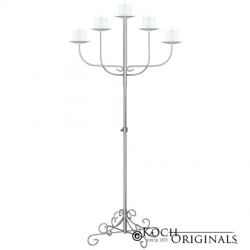 5-Light Fan Floor Candelabra - Pillar Style - Frosted Silver