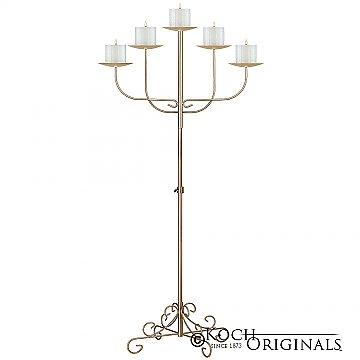 5-Light Fan Floor Candelabra - Pillar Style - Gold Leaf