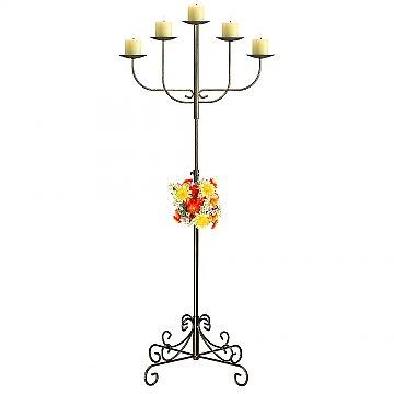 5-Light Fan Floor Candelabra - Pillar Style - Onyx Bronze