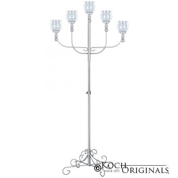 5-Light Fan Floor Candelabra - Teardrop Style - Frosted Silver