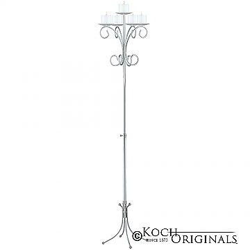 5-Light Tree Floor Candelabra - Pillar Style - Frosted Silver