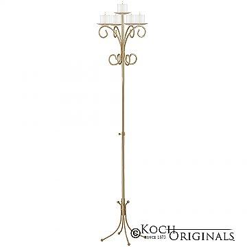 5-Light Tree Floor Candelabra - Pillar Style - Gold Leaf